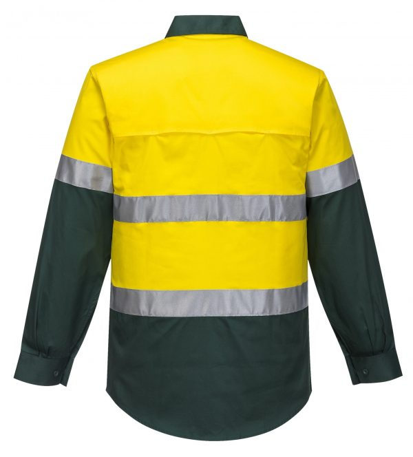 MA801 - Hi-Vis Two Tone Cotton Lightweight Long Sleeve Shirt with Tape GRE2
