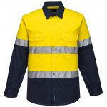 MA801 - Hi-Vis Two Tone Cotton Lightweight Long Sleeve Shirt with Tape NVY1