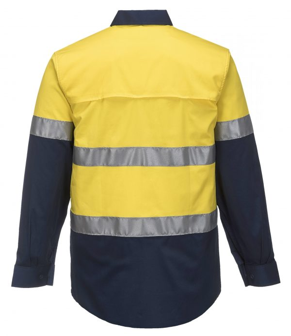MA801 - Hi-Vis Two Tone Cotton Lightweight Long Sleeve Shirt with Tape NVY2