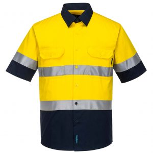 MA802 - Hi-Vis Two Tone Cotton Lightweight Short Sleeve Shirt with Tape YN