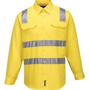MS191 - Hi-Vis Cotton Regular Weight Long Sleeve Shirt with Tape over Shoulder Y1