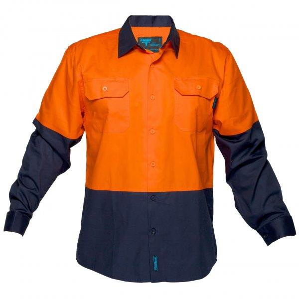 MS802 - Hi-Vis Cotton Two Tone Lightweight Long Sleeve Shirt O1