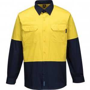 MS802 - Hi-Vis Cotton Two Tone Lightweight Long Sleeve Shirt Y1