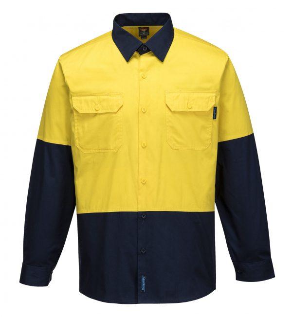 MS802 - Hi-Vis Cotton Two Tone Lightweight Long Sleeve Shirt Y1