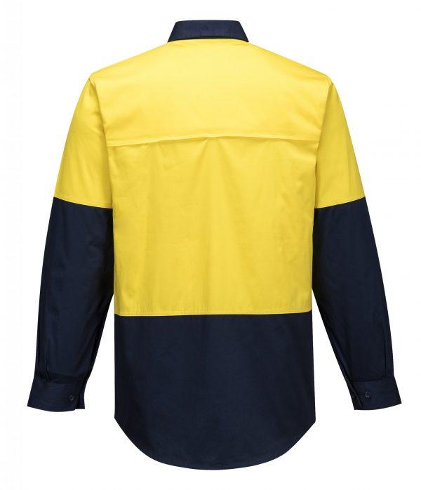 MS802 - Hi-Vis Cotton Two Tone Lightweight Long Sleeve Shirt Y2