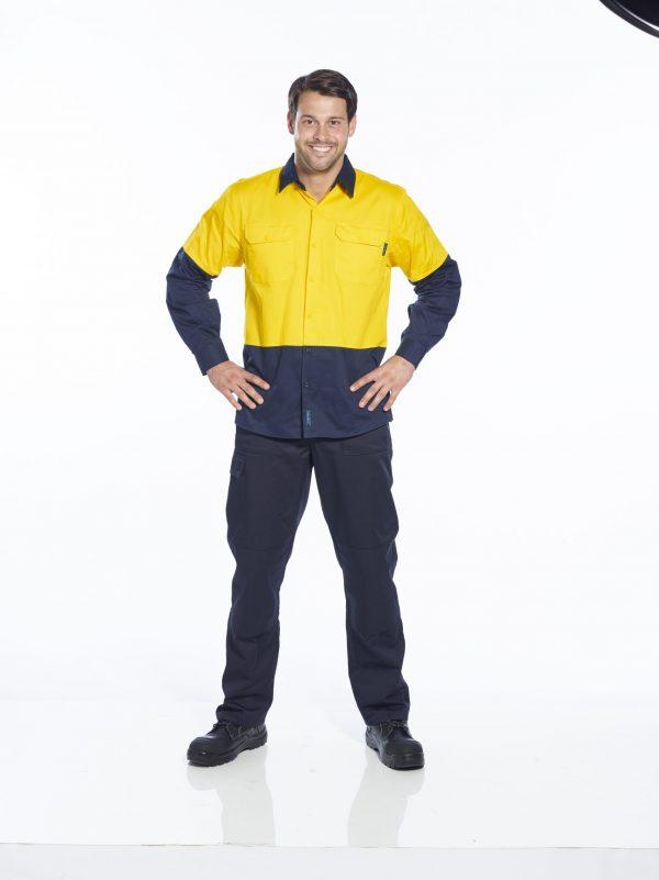 MS802 - Hi-Vis Cotton Two Tone Lightweight Long Sleeve Shirt