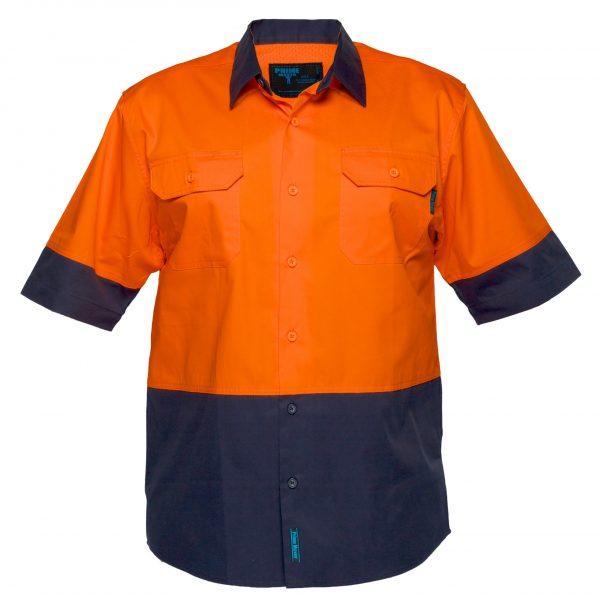 MS802 - Hi-Vis Cotton Two Tone Lightweight Short Sleeve Shirt O