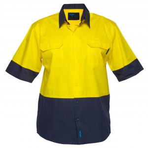 MS802 - Hi-Vis Cotton Two Tone Lightweight Short Sleeve Shirt Y