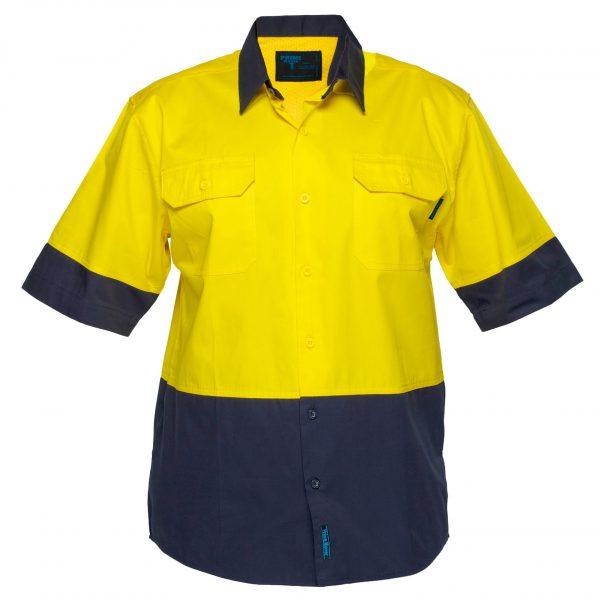 MS802 - Hi-Vis Cotton Two Tone Lightweight Short Sleeve Shirt Y