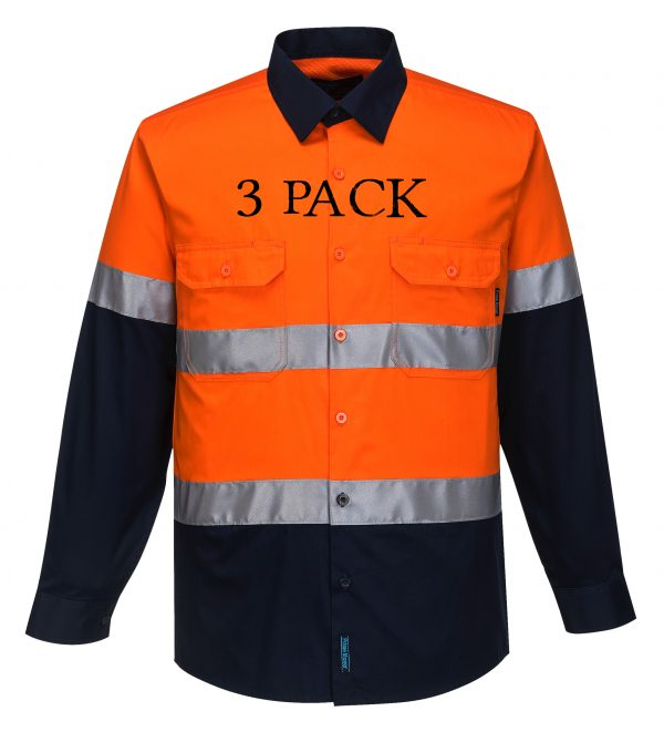MA801 - Hi-Vis Two Tone Cotton Lightweight Long Sleeve Shirt with Tape ON3PK