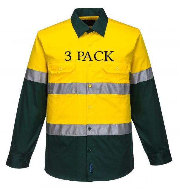 MA801 - Hi-Vis Two Tone Cotton Lightweight Long Sleeve Shirt with Tape YG3PK