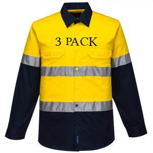 MA801 - Hi-Vis Two Tone Cotton Lightweight Long Sleeve Shirt with Tape YN3PK