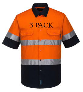 MA802 - Hi-Vis Two Tone Cotton Lightweight Short Sleeve Shirt with Tape ON3PK