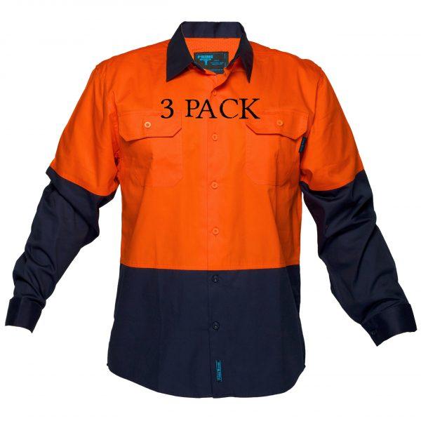 MS801 - Hi-Vis Cotton Two Tone Lightweight Long Sleeve Shirt ON3PK