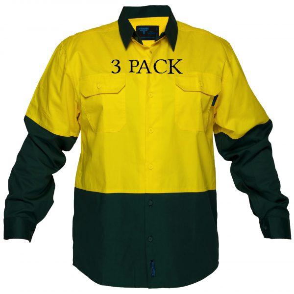 MS801 - Hi-Vis Cotton Two Tone Lightweight Long Sleeve Shirt YG3PK