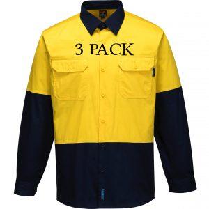 MS801 - Hi-Vis Cotton Two Tone Lightweight Long Sleeve Shirt YN3PK