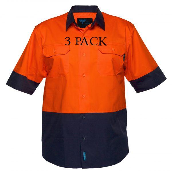 MS802 - Hi-Vis Cotton Two Tone Lightweight Short Sleeve Shirt ON3PK