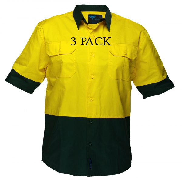 MS802 - Hi-Vis Cotton Two Tone Lightweight Short Sleeve Shirt YG3PK