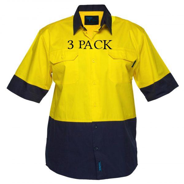 MS802 - Hi-Vis Cotton Two Tone Lightweight Short Sleeve Shirt YN3PK