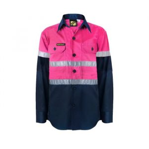 WSK129 Kids Lightweight Hi Vis Two Tone Cotton Drill Shirt with CSR Reflective Tape PN1