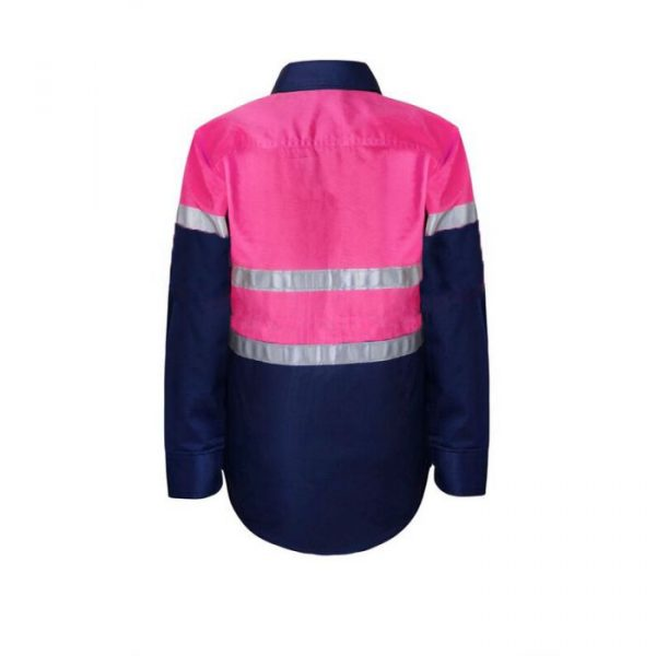 WSK129 Kids Lightweight Hi Vis Two Tone Cotton Drill Shirt with CSR Reflective Tape PN2