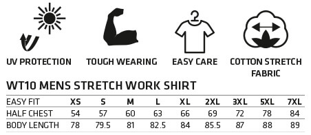 WT10 Mens Stretch Work Shirt Size Chart